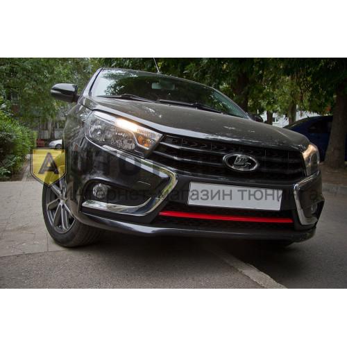 Накладка на передний бампер (в цвет автомобиля) (АБС) Лада Веста | LADA Vesta Седан с 2016